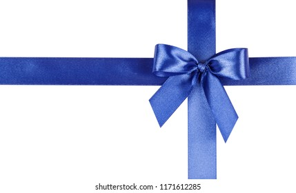 Blue bow, ribbon. Isolated on white background.