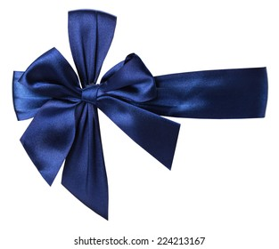 blue bow with ribbon on white background