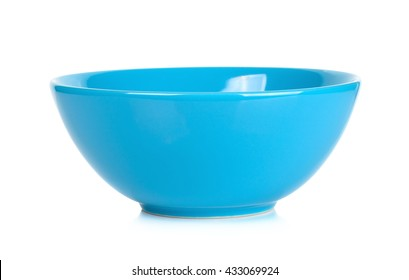 Blue bowl isolated on the white background.