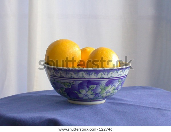 Blue bowl with yellow lemons