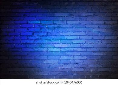 Blue brick wall for designer background. Ice bricks. Illuminated plane. Bitmap image.