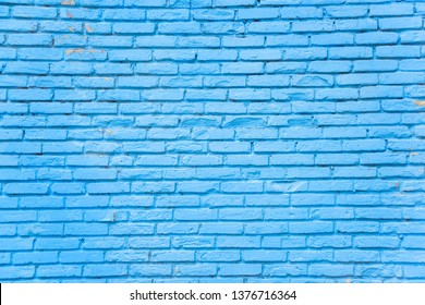 Blue brick wall texture. Rest in Georgia. Vintage architecture in the city of Batumi. Brick building.