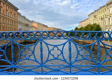 Blue Bridge across river Moika in Saint Petersburg, Russia. First cast iron bridge was built in 1818. In 1842-1844, it was widened on its northern side to its present width of 97.3 metres
