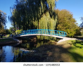 Blue bridge in amsterdam park