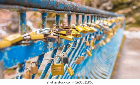 Blue bridge full of golden love locks, expressing love and eternity between couple. Love locks on the lovers bridge. shallow depth of field