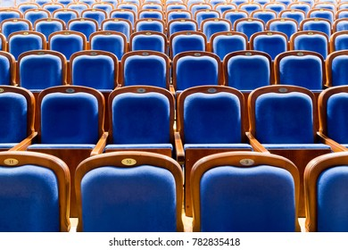 Blue brown wooden chairs in the auditorium. Without people.