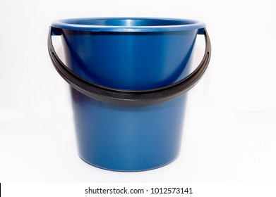 Blue bucket made of plastic for different purposes