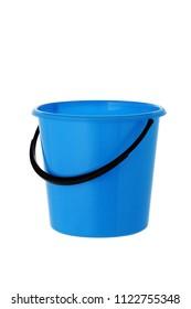 blue bucket on white background isolated
