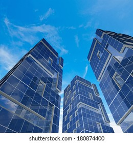 Blue buildings. My architecture and 3d model