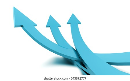 Blue business arrows concept rendered