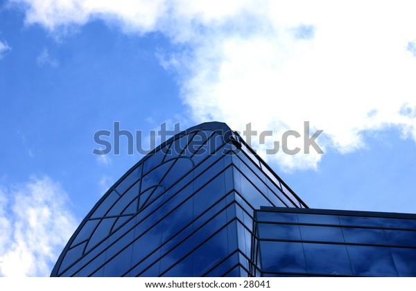 Blue business building