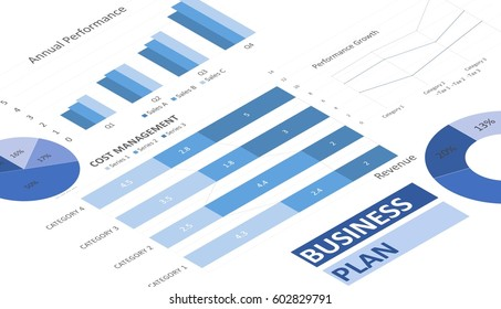 blue business charts, graphs, annual reports and summarizing background, management and project for business concepts