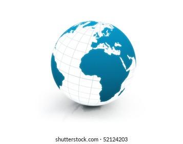 Blue business globe on white background