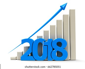 Blue business graph with blue arrow up, represents growth in the year 2018, three-dimensional rendering, 3D illustration