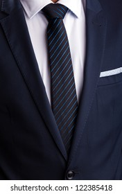Blue business suit and tie