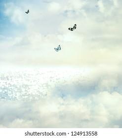 Blue butterflies on the horizon
