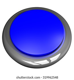 Blue button isolated over White, 3d render, square image