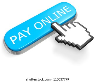 Blue button PAY ONLINE and hand cursor isolated on white