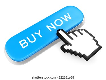 Blue button with text Buy Now and computer mouse hand cursor isolated on white background
