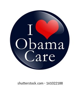 A blue button with word I Love ObamaCare and red heart isolated on white, I Love ObamaCare Button