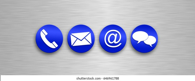 blue buttons with white contact us icons