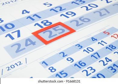 Blue calendar page close up