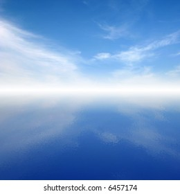 Blue calm clouds on sky reflected in water and mystic horizon.