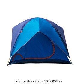 Blue camping tent isolated on white background, Dome tent, Camping Equipment