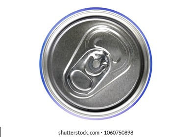 Blue can on white background, view from the top