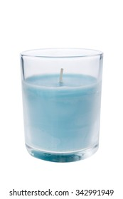 A blue candle glass isolated on white background