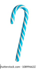 Blue candy cane striped isolated on white
