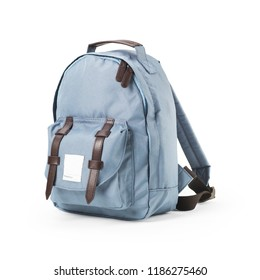 Blue Canvas Backpack Isolated on White Background. Side View of Satchel Rucksack with Zippered Compartment. Travel Camping Daypack. Pretty Petrol School Bag with Shoulder Straps and Haul Loop at Top