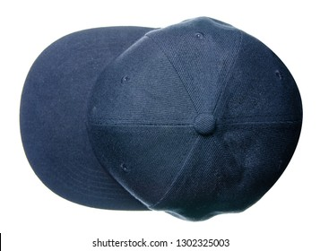 Blue cap on white background isolation, top view