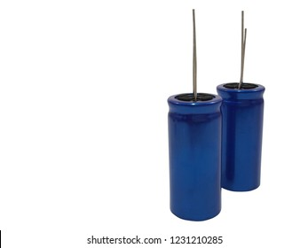 blue capacitor and electrolytic capacitor  on white background.