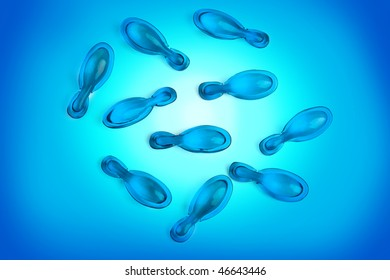 blue capsules on blue gradient background