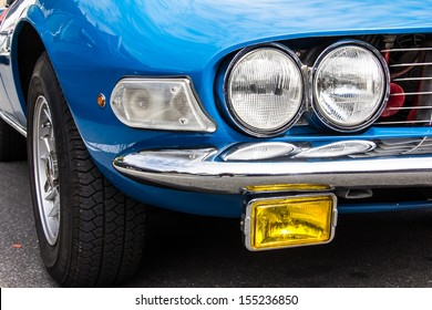 Blue Car Right Front Lights