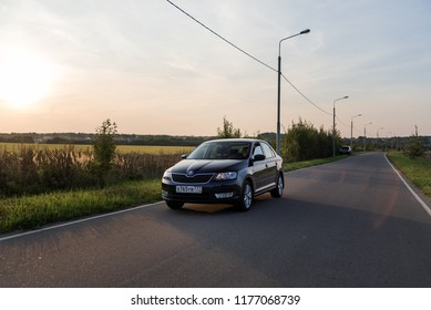 Blue car Skoda Rapid sedan. Moscow, Russia. September 6, 2018
