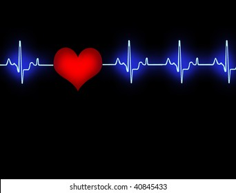 Blue cardiogram with red heart in black background