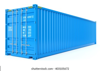 Blue cargo container isolated on white background 3d