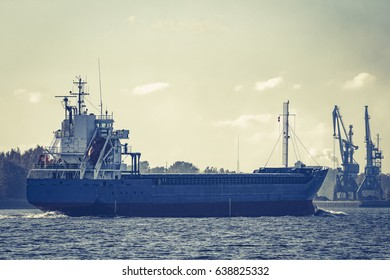 Blue cargo ship sailing from the Baltic sea