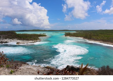 The blue of the Caribbean sea. View from Columbus Monument, Long Island, Bahamas