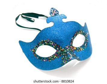 Blue carnival mask isolated on white