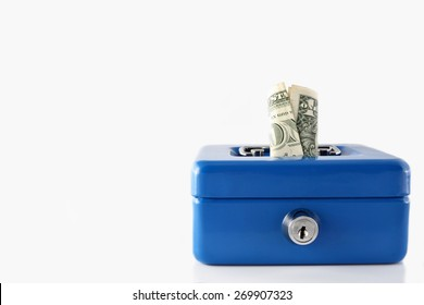 Blue cash box with dollar isolated on white background