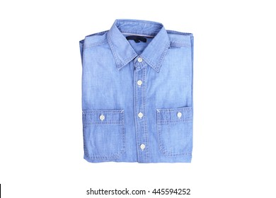 Blue casual denim shirt on white background