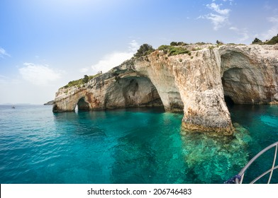 Blue caves along the shore of Zakynthos island, Greece