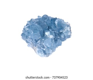 Blue Celestite cluster from Madagascar isolated on white background.