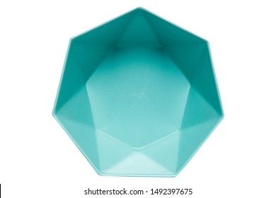 Blue ceramic bowl,  Empty heptagon bowl, View from above isolated on white background with clipping path