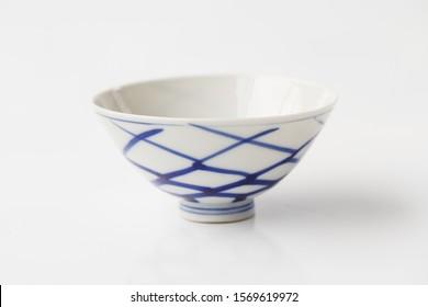 Blue ceramic bowl, Empty bowl isolated on white background