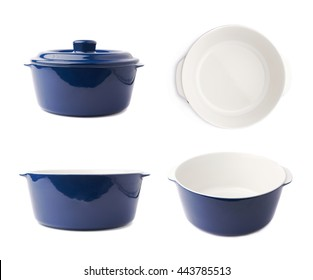 Blue ceramic cooking pot pan isolated over white background