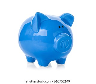 Blue ceramic piggy bank on white background